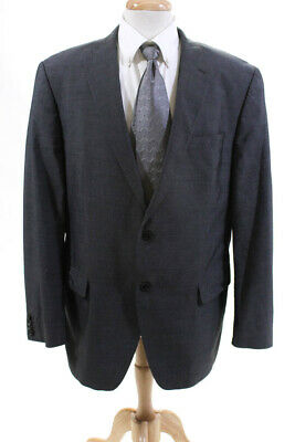 Rene Lezard Mens Two Button Notched Lapel Blazer Gray Cotton Size Italian 54