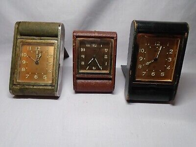 3 Vintage Jaeger Travel/Alarm Clocks For Spares Or Repairs