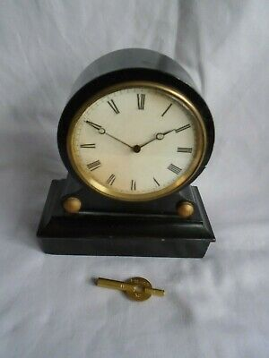 French Wooden Tic Tac Clock In Good Working Order + Key