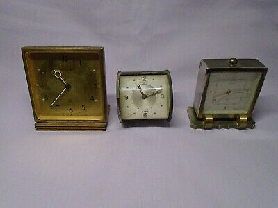 3 Vintage Lecoultre  Travel/Alarm Clocks For Spares Or Repairs