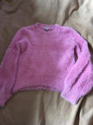 River Island Girls Pink Fluffy Long Sleeve Top Age 9-10 Years Good Condition