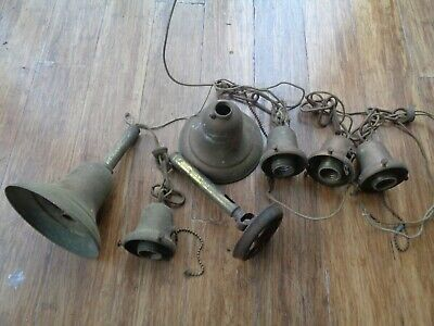 Vtg Antique Brass Other Bell Pull Chain Lamp Shade Socket Holder Parts Lot