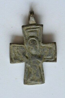 Byzantine bronze cross Virgin Mary raised hands 6th century AD