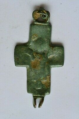 Byzantine bronze cross encolpion Virgin Mary raised hands 6th century AD