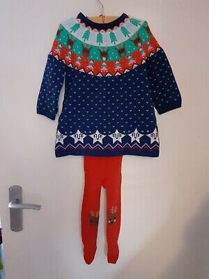Marks and spencer girls christmas dress and tights 9-12 months