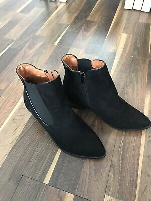 Evans Black Faux Suede Ankle Boots Size 5 Extra Wide Fit New Never Worn