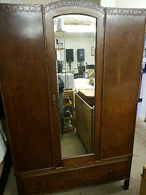 Gorgeous Vintage Wardrobe with Bottom Drawer & Bevel Edged Mirror