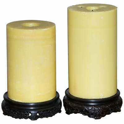 Stunning Pair Of Very Large Vintage Chinese Church Candles With Carved Wood Base