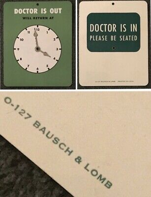 Vintage Bausch & Lomb B&L DOCTOR IS IN / OUT / WILL RETURN AT Clock Plastic Sign