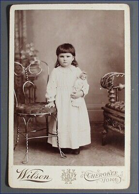 Vintage Cabinet Photo Girl Is Long White Gown & Porcelain Doll, Cherokee Iowa