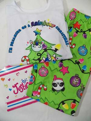 ~Justice~ Girls 14 16 PLUS Christmas Unicorn Rainbow Holiday Pajamas NEW
