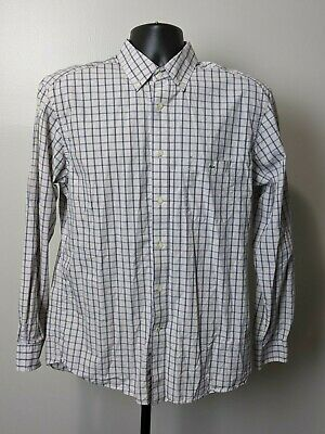 Lacoste Gray Check Plaid Button Front Long Sleeve Shirt Mens Size 42