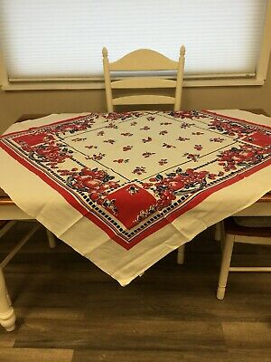 VINTAGE TABLECLOTH Red Strawberries And Cherries