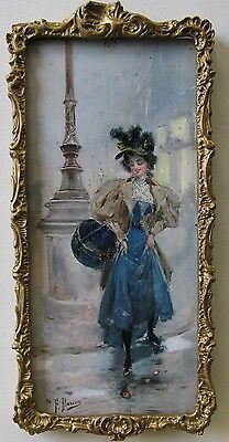 FELIX ALARCON 19th Century SPAIN OIL PAINTING FRENCH LADY PARIS STREET RAINY DAY