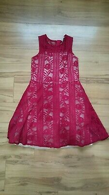 River Island Deep Red Lace Girls dress Size 12 Years