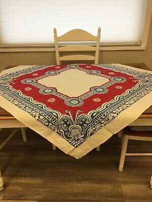 VINTAGE TABLECLOTH Red And Blue Design