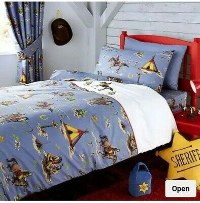 HOWDY COWBOY DOUBLE DUVET COVER SET NEW RED INDIANS