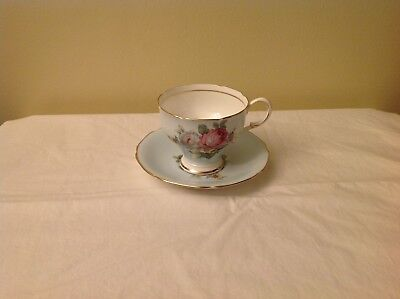 Paragon Bone China Cup & Saucer Double Warrant Sky Blue with Roses 96507/2  7