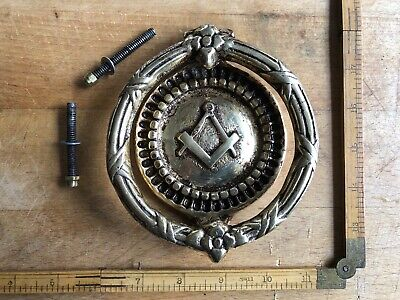 Antique Vintage Large Unusual Brass Masonic Door Knocker