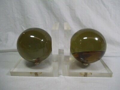 1960's Mid-Century Modern Deco Sphere Amber Green Lucite Ball Bookends