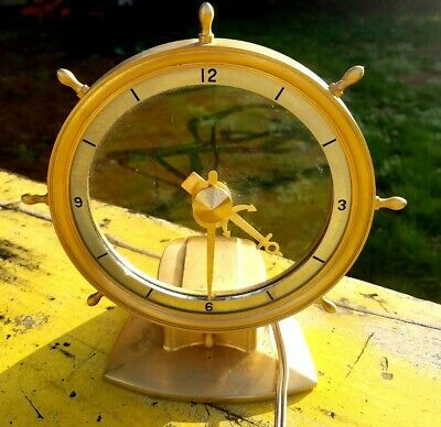Nautical Ship Wheel Jefferson Golden HELM Hour Electric Mystery Clock Working!