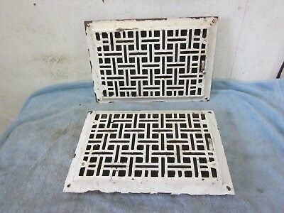 2 Antique Cast Iron Register Floor/ Wall Heat Grates  8 x 12 With Louvers