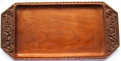 Vintage Chip Carved Oak Wooden  Serving Tray Art & Crafts Style - Good Condition