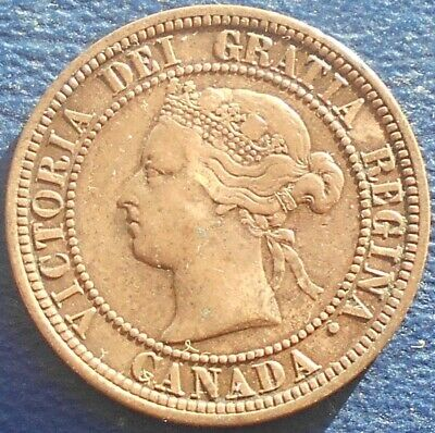 1876 H Cabada Large Cent KM#7 Victoria Heaton Mint 1st Year Nice Circulated #FR2