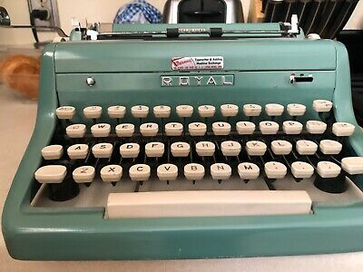 Vintage Teal Royal Quiet Deluxe Portable Typewriter with Case