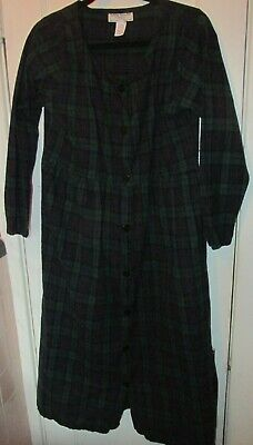 Vermont Country Store Women's Flannel Plaid Nightgown Green/Blue EUC