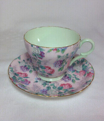Scarce 1935 Shelley English Bone China Summer Glory Chintz Footed Cup Saucer