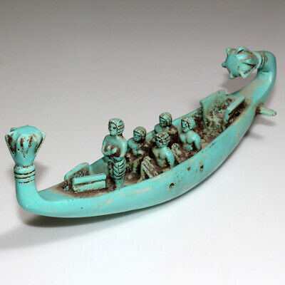 Huge-Egyptian Vintage Glaze Ancient Style Ship