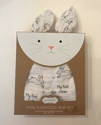 New Mud Pie My First Easter Muslin Swaddle Blanket Unisex