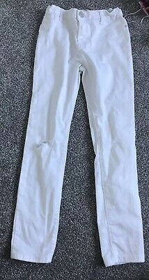 River Island White Skinny Jeans 10 Years Girls Ripped Distressed