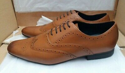 Steptronic FINCHLEY Mens Leather Brogue Oxford Formal Evening Smart Shoes Brown