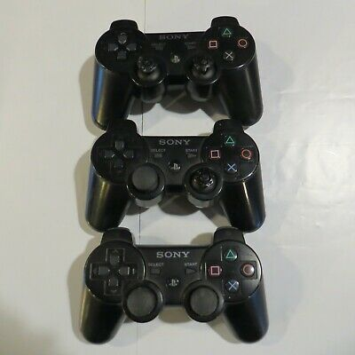 Lot of 3 Original Official Genuine Sony PS3 Wireless Dualshock 3 Controllers