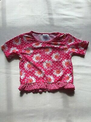 Girls Age 3-4 Years Swim Top Pink Spots And Daisy Flower Design