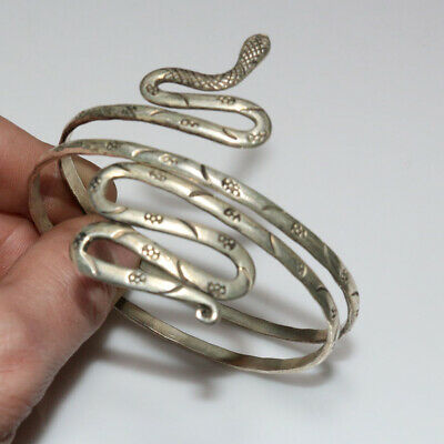 Scarce-Medieval Silver Decorated Snake Bracelet Circa 1300-1500 Ad