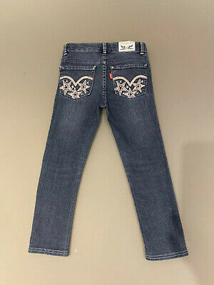 Levis Girls Super Skinny Jeans With Sequin Embroidered Stars To Back  - Age 5