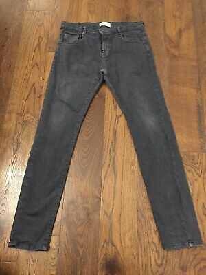 Zara Age 11-12 Boys Graphite Grey Stretch Skinny Jeans Adjustable Waistband
