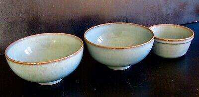 "Two Denby  ""Regency Green"" Rice Bowls and a Dipping Dish in good condition."