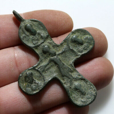 Byzantine Bronze Christian Cross Pendant Circa 700-1000 Ad- Large Size-Wearable