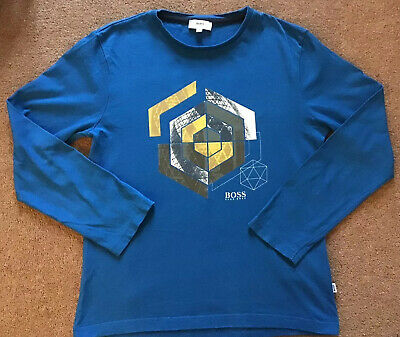 Hugo Boss Age 10 Boys Blue Long Sleeved T-shirt. Great Condition