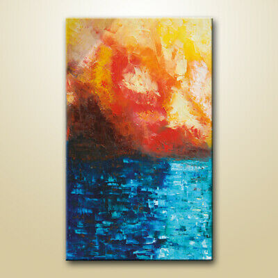 Abstract sea painting on canvas, Seascape abstract painting, acrylic on canvas