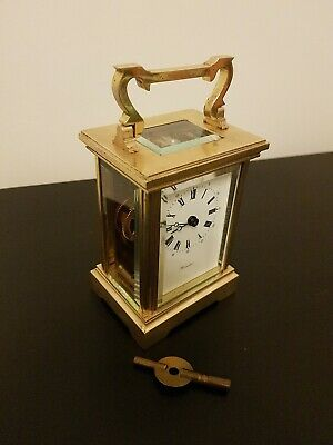 Worcester Solid Brass Carriage Mantle Clock Fema  11 Jewels Movement + Key