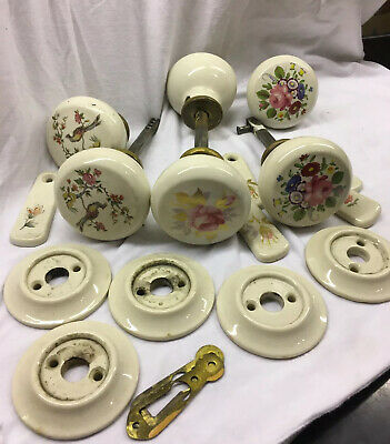 vintage floral PORCELAIN DOOR KNOBS keyhole covers cradles Job Lot Good Conditio