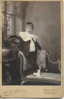Large CDV Cabinet Boy in white shoes. Photographer: H.W. Watson, Gloucester.