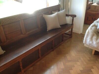 Liberty & co  ANTIQUE FURNITURE OAK HALL BENCH/SETTLE LIBERTY of LONDON over10ft