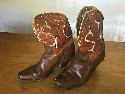 Vtg 1940/50s Childs Acme Western Inlay Cowboy Boots Leather Peewee Made in USA