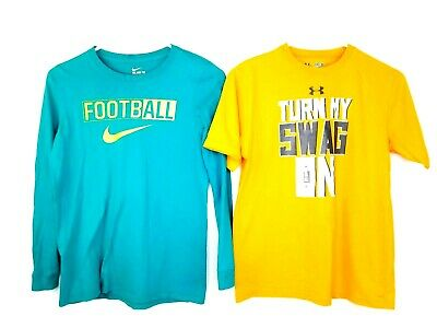 2 Youth Med Athletic/Fitness Tshirts Under Armour Nike Green Orange